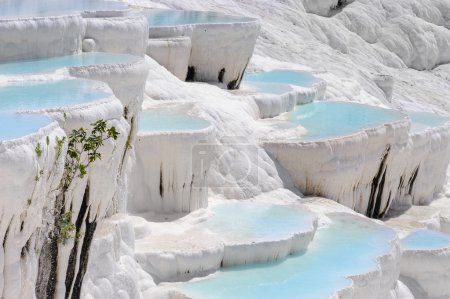 Travertine pools and terraces in