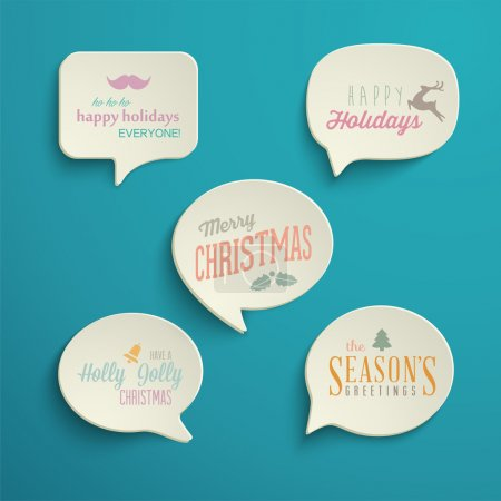Illustration for Collection of Holiday Speech Bubbles with various messages. Vector Illustration - Royalty Free Image