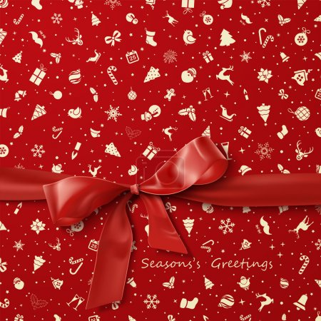Red Bow over red Christmas wrapping paper icons seamless pattern