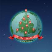 Holiday Greeting Card Merry Christmas to all of the world all continents and landmasses fit together forming Christmas tree while gps pins locating gift boxes represents red Christmas ornaments