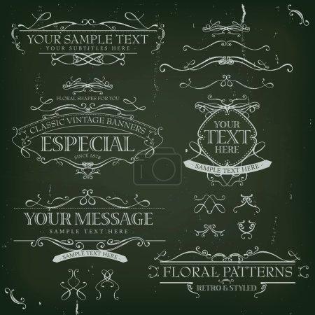Illustration for Illustration of a set of retro labels, frames, sketched banners, floral patterns, ribbons, and graphic design elements on slate chalkboard background - Royalty Free Image