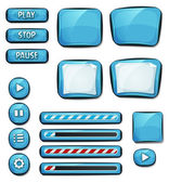 Illustration of a set of various cartoon design ui diamonds or gems glossy elements including banners signs buttons load bar and app icon background for tablet pc
