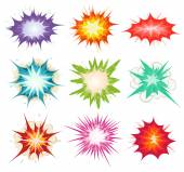 Illustration of a set of comic book explosion blast and other cartoon fire bomb bang and exploding symbols in various colors