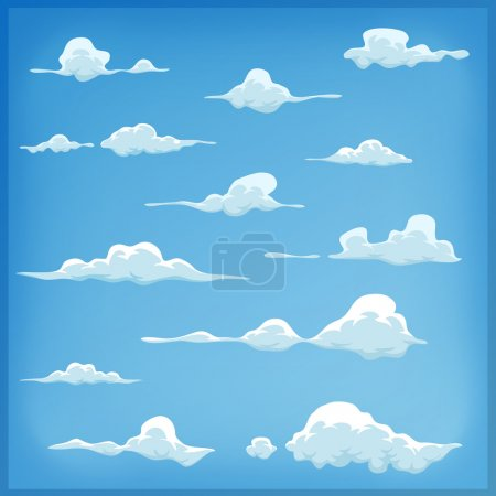 Illustration of a set of funny cartoon clouds, smo...
