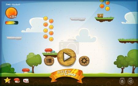 Illustration pour Illustration d'une plate-forme graphique drôle conception d'interface utilisateur de jeu, dans le style de dessin animé avec des boutons de base, icônes, barre d'état, herbe transparente et paysage de printemps, pour tablette PC - image libre de droit