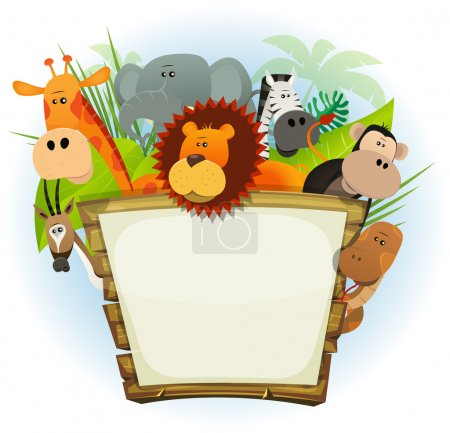 Illustration for Illustration of a cute cartoon wild animals family from african savannah, including lion, elephant, giraffe, monkey, snake, gazelle and zebra with jungle background - Royalty Free Image