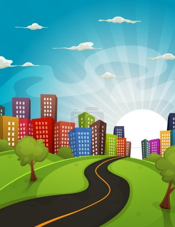 Illustration for Illustration of a cartoon road driving from fields and meadows landscape to downtown city in spring or summer season, with horizon and sun rising behind - Royalty Free Image