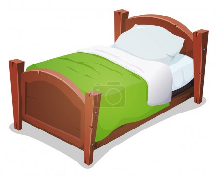 Illustration for Illustration of a cartoon wooden children bed for boys and girls with pillows and green blanket - Royalty Free Image