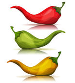 Cartoon Red Green And Yellow Hot Chili Pepper
