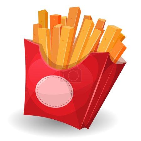 Illustration pour Illustration de frites délicieux dessin animé à l'intérieur carton rouge paquet avec signe, pour snack restaurant et plats à emporter - image libre de droit