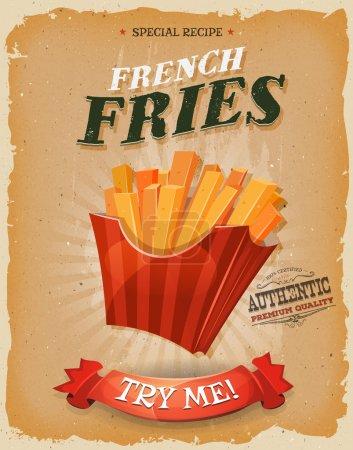 Illustration pour Illustration d'une affiche design vintage et grunge texturée, avec icône de pommes de terre frites, pour snack fast food et menu à emporter - image libre de droit