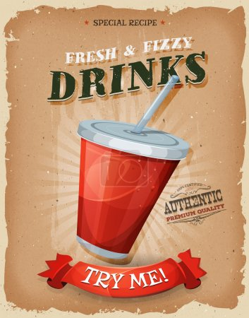 Illustration for Illustration of a design vintage and grunge textured poster, with plastic glass of fruit juice or soda, for fast food snack and takeaway menu - Royalty Free Image