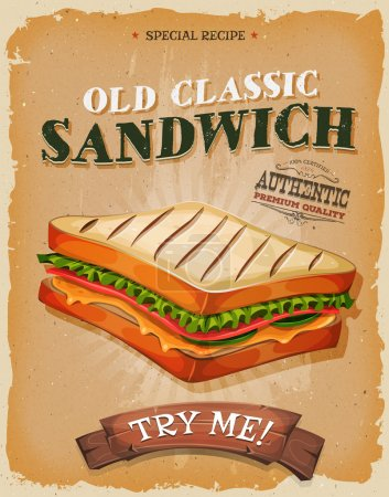 Grunge And Vintage Sandwich Poster