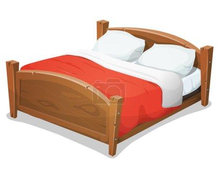 Illustration pour Illustration d'un grand lit en bois de dessin animé pour des couples avec des oreillers et la couverture rouge - image libre de droit