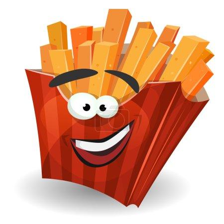 Illustration pour Illustration d'un personnage de pommes de terre frites de bande dessinée avec emballage en carton à rayures rouges, comme une mascotte drôle pour snack restaurant et plats à emporter - image libre de droit