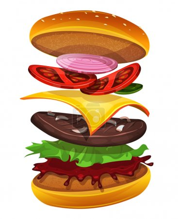 Illustration for Illustration of an appetizing cartoon fast food cheeseburger icon, with separated layers of tomatoes, red and yellow onions, salad leaves, cheese, ketchup sauce and beef steak - Royalty Free Image