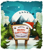 Illustration of a cartoon night snowy christmas holidays background with wood sign and santa character driving sleigh in the moon light