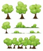 Illustration of a set of cartoon spring or summer little trees and green icons with bush and hedges foliage for ui game scenics