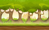 Illustration of a seamless cartoon spring or summer landscape of forest trees with repetitive patterns of foliage branch and trunks for game ui scenics