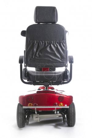 Red motorized mobility scooter fot elderly people