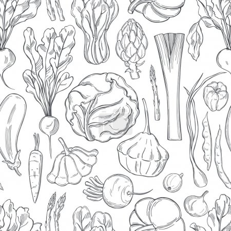 Illustration for Vector seamless pattern with  hand drawn  vegetables - Royalty Free Image