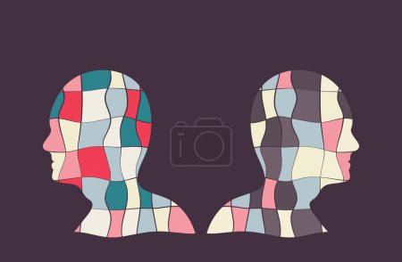 Illustration for Colourful vector illustration with two people with opposite sides. - Royalty Free Image