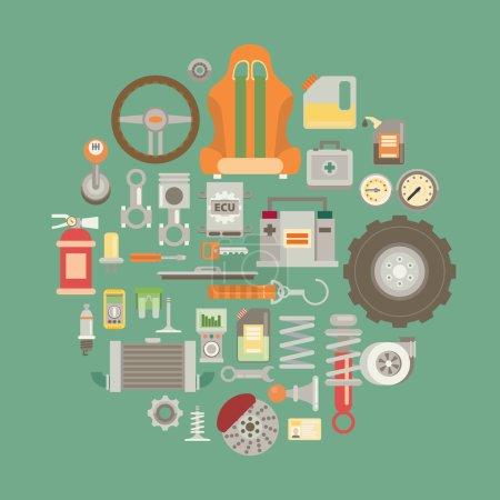 Illustration pour Ensemble de pièces détachées automobiles. icônes de réparation automobile dans le style plat . - image libre de droit