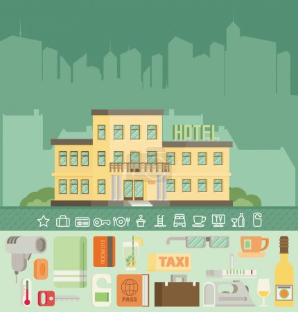Illustration for Hotel building in summer vacation, best choice. Flat vector. - Royalty Free Image