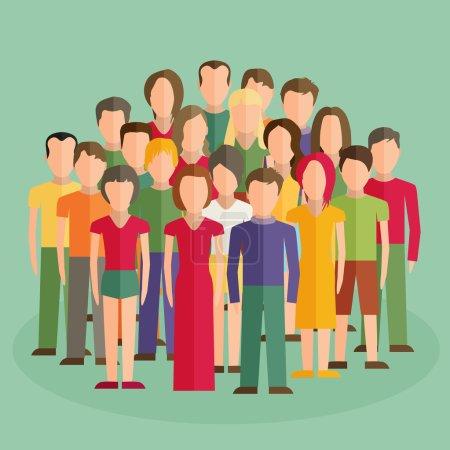 Illustration pour Illustration plate des membres de la société avec un grand groupe d'hommes et de femmes - image libre de droit