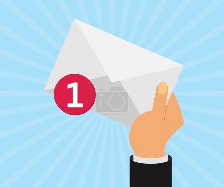 Illustration pour Lettre d'enveloppe blanche avec contre-notification, main du facteur, concept de message électronique entrant, service de livraison de courrier - image libre de droit