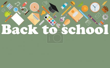 Illustration for Back to school flat illustration. - Royalty Free Image