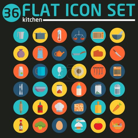 Kitchen utensils and cookware flat icons set, cook...