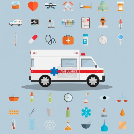 Illustration for Healthcare and medical icons. vector illustration - Royalty Free Image