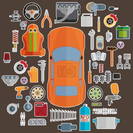 Illustration for Big set of spare parts for cars. Tuning and modernization - Royalty Free Image