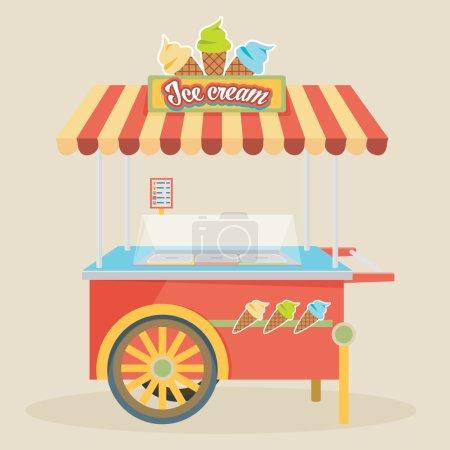 Illustration pour Illustration vectorielle de chariot de crème glacée colorée brillante. Concepts créatifs impressionnants, icônes, éléments graphiques élégants design élégant, bel art . - image libre de droit