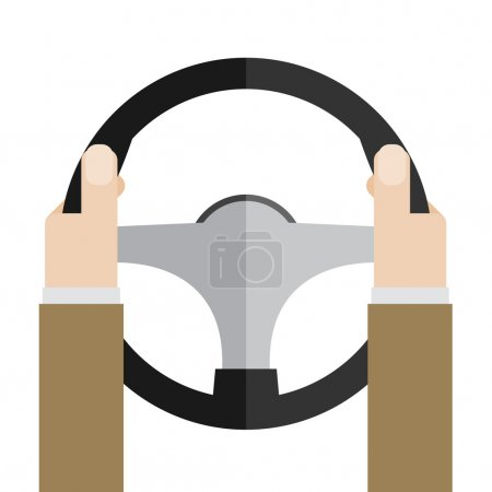 Hands holding steering wheel