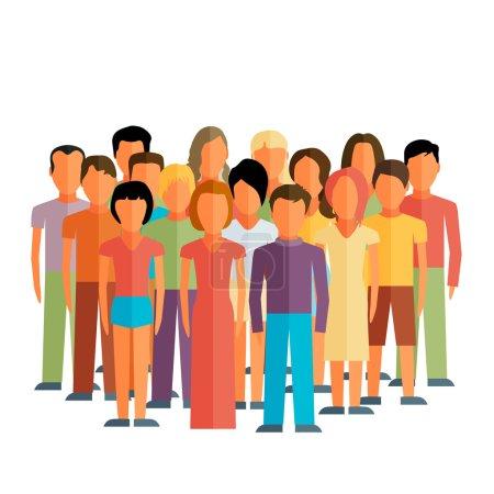 membres avec un grand groupe d'hommes et de femmes