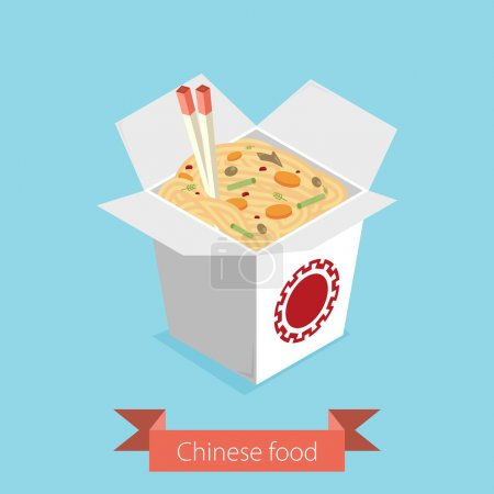 Illustration for Chinese restaurant opened take out box filled with noodles - Royalty Free Image