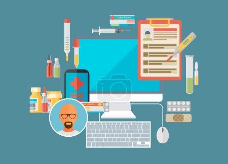 Illustration pour Médicaments de santé en ligne service de soins médicaux internet - image libre de droit