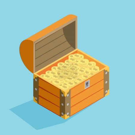 open treasure chest isolated