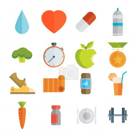 Illustration for Sport and healthy life concept flat icon set of jogging, gym, food, metrics etc. Isolated vector illustration, modern design element. - Royalty Free Image