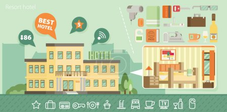 Illustration for Hotel building in summer vacation, best choise. Flat vector. - Royalty Free Image