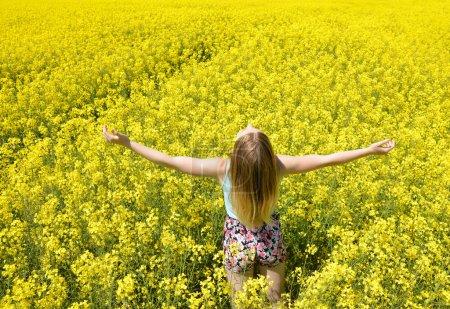 woman on blooming rapeseed field