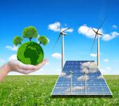 "Постер, картина, фотообои ""Solar energy panels with wind turbines and green planet in hand. """