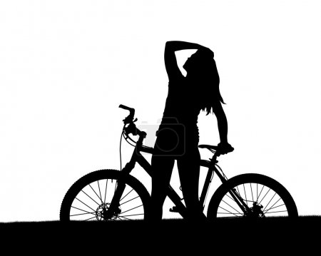 Silhouette of a cyclist with mountain bike