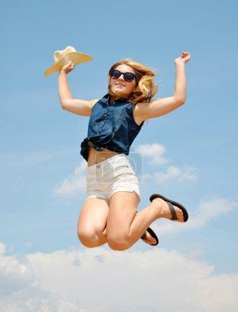 woman jumping high