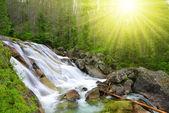Waterfalls at stream Studeny potok in High Tatras mountains