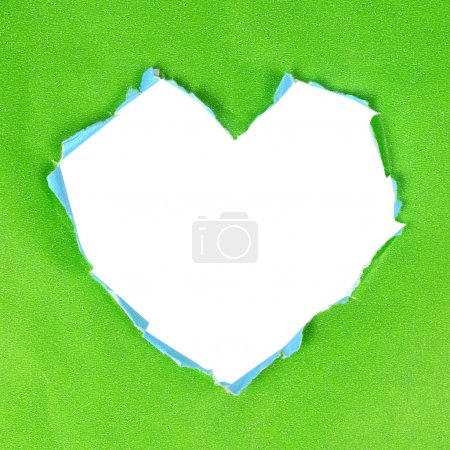 Photo for Green paper heart on white - Royalty Free Image