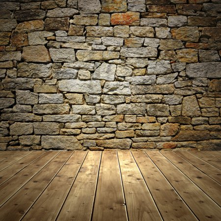 Photo for Room interior vintage with brick wall and wood floor - Royalty Free Image