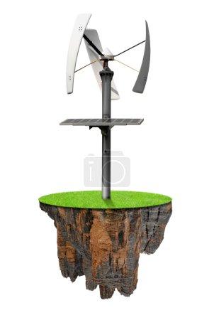 Little island with wind turbine